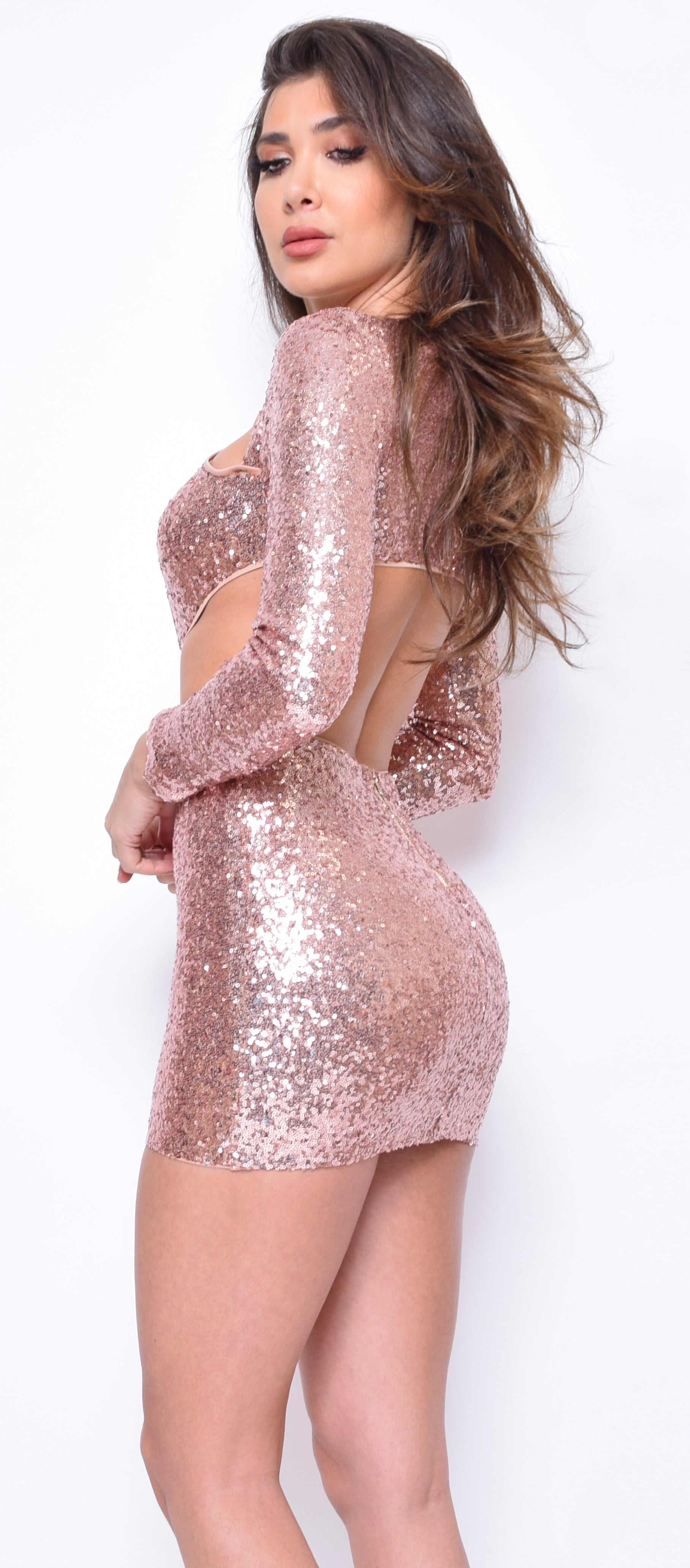 Holland Rose Gold Sequin Cut Out Dress