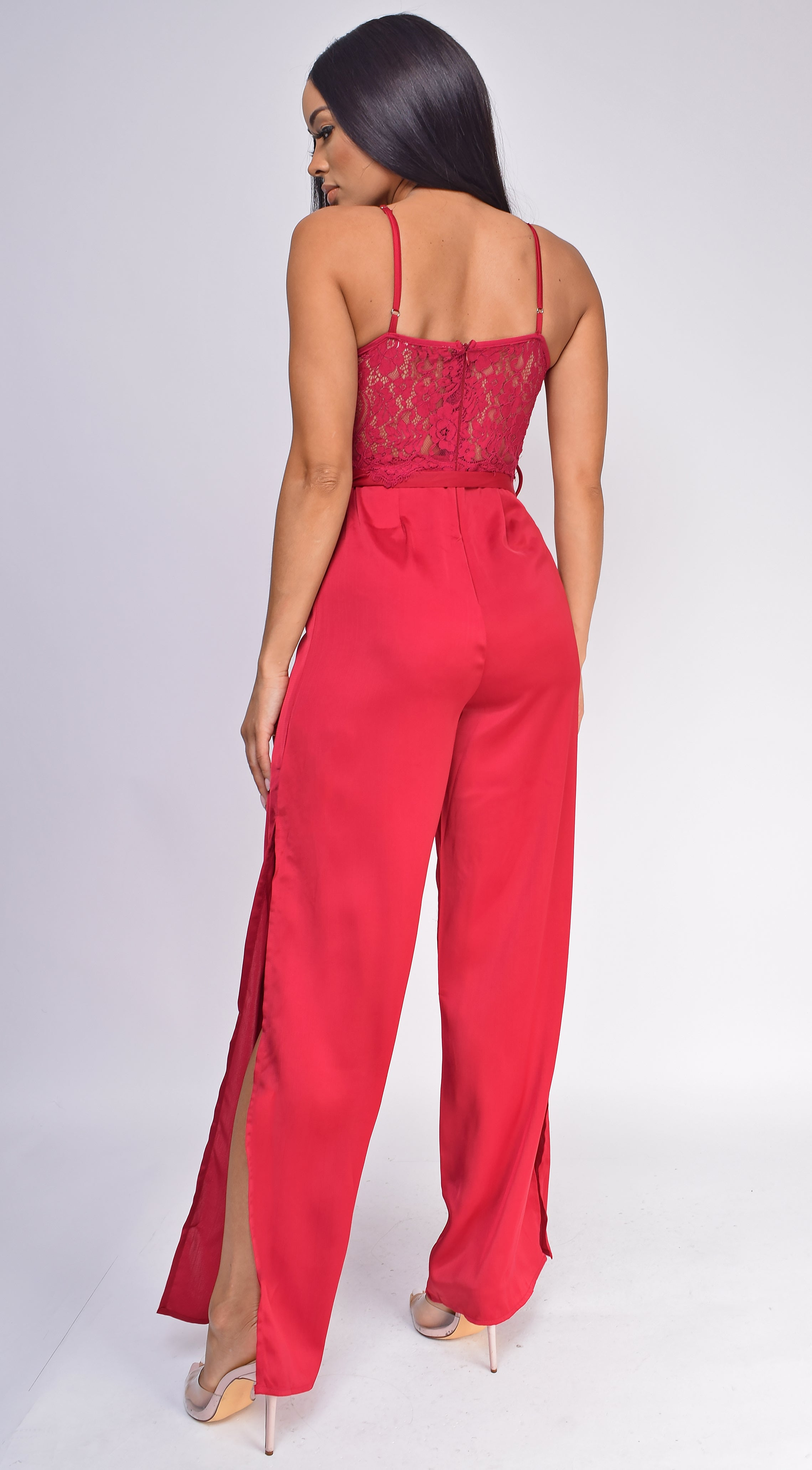 Raya Red Lace Top Satin Wide Leg Slit Jumpsuit