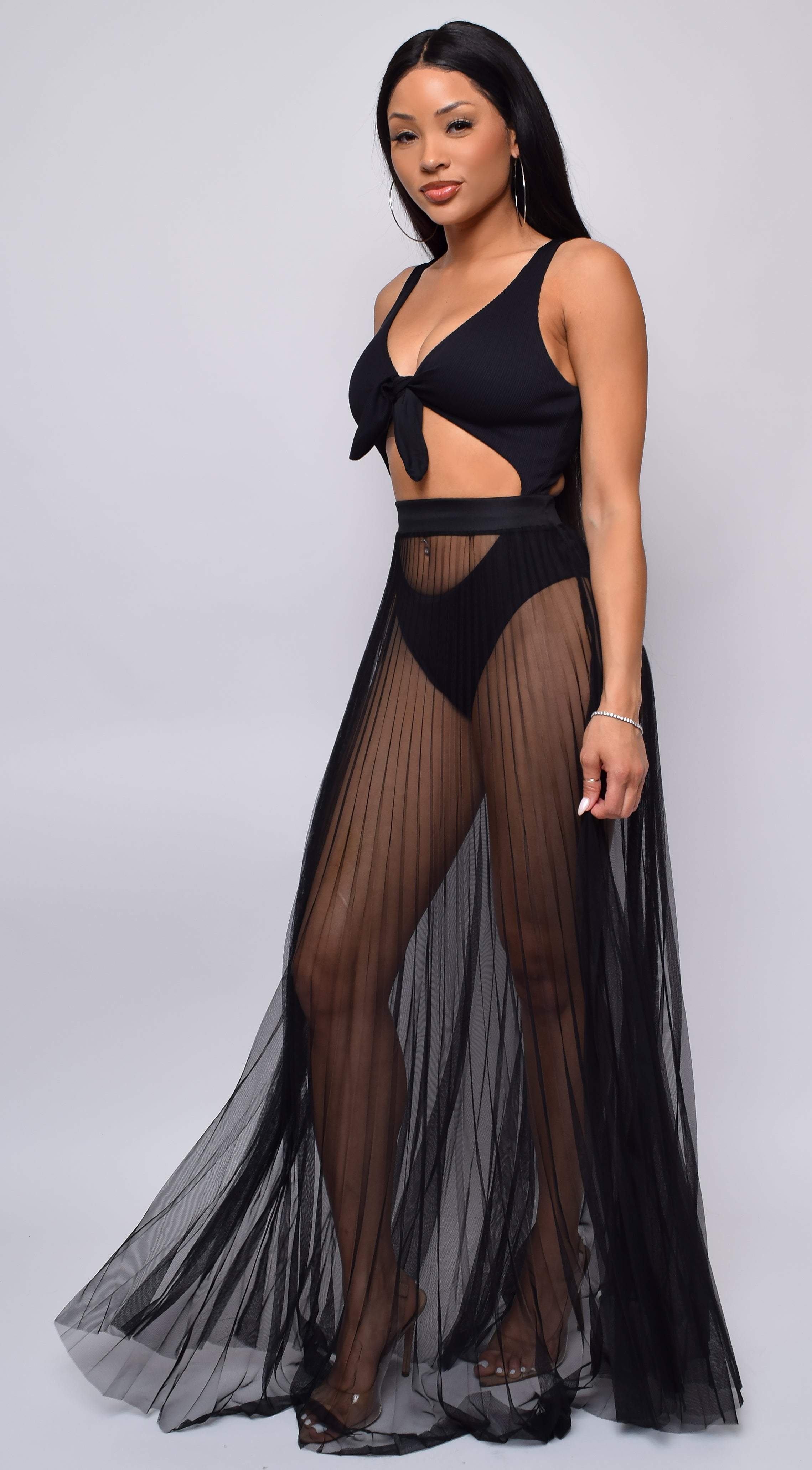 Palmaria Black Pleated Sheer Tulle Maxi Cover-up Skirt