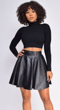 Kacey Black High Neck Ribbed Crop Top