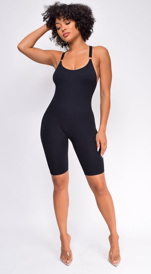 Now Or Never Black Shaping Bodysuit Romper