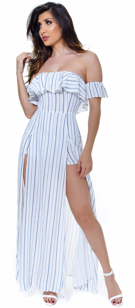 Linosa White Navy Stripe Maxi Romper Dress