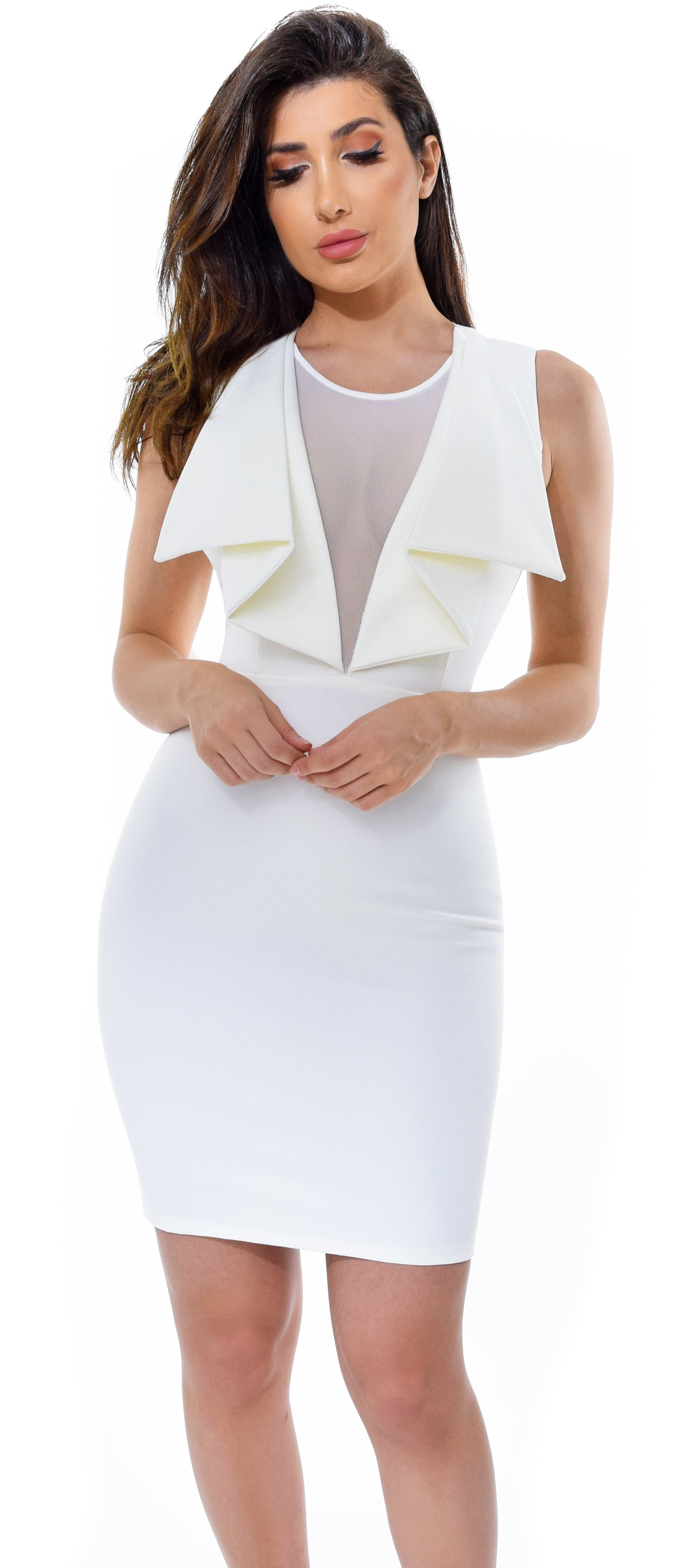 Martina White Mesh Drape Ruffle Dress