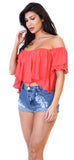 Coral Bustier Lace Trim Crop Top - Emprada