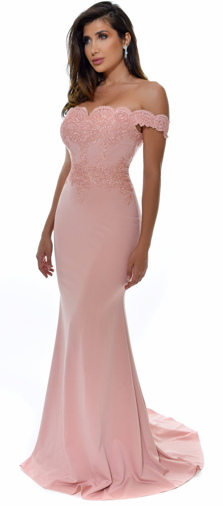 Solaine Blush Off Shoulder Lace Detail Gown - Emprada