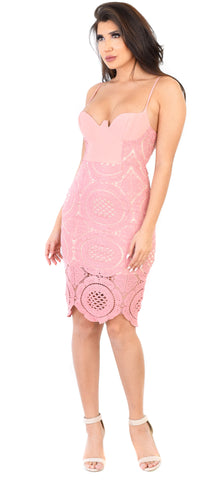 Amelie Blush Bustier Crochet Midi Dress - Emprada