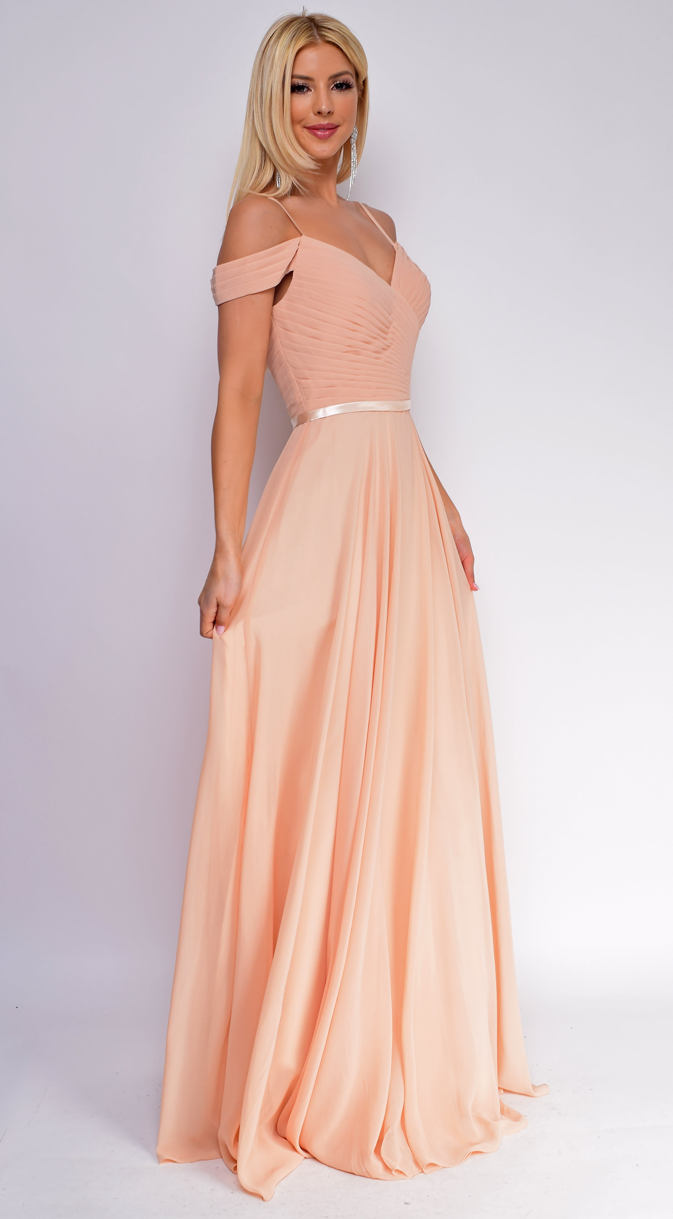 Kinsley Champagne beige Pleated Maxi Dress