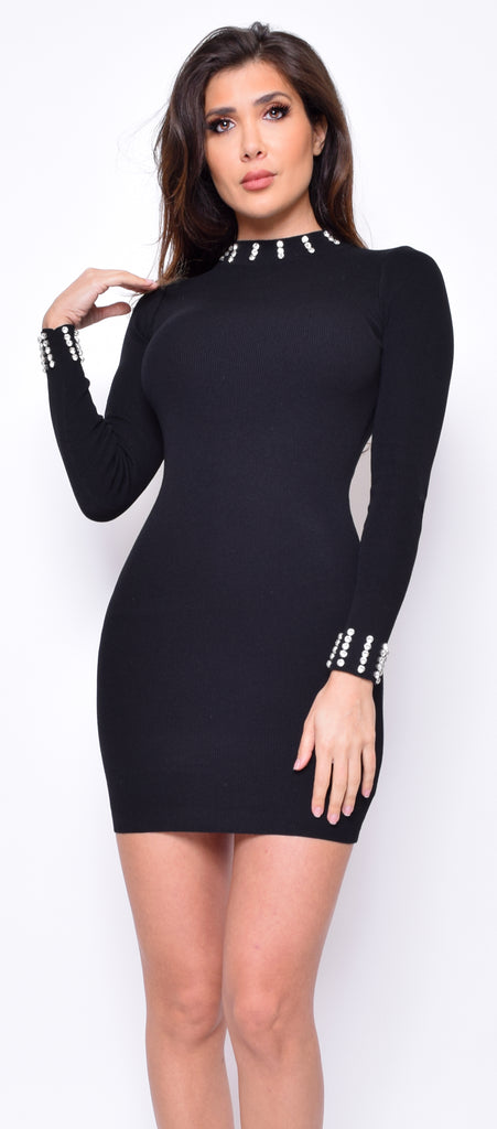 Camden Black Ribbed Bejeweled Detail Dress - Emprada