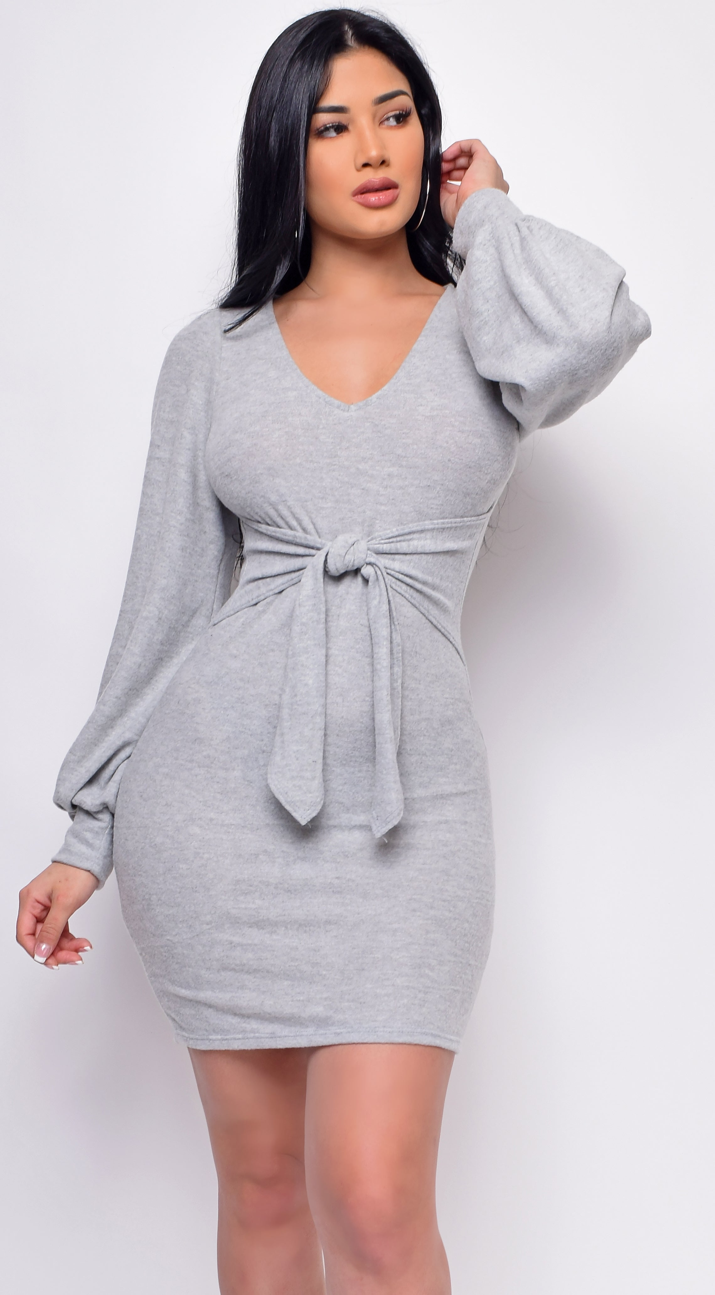 Ultimate Grey Waist Tie Mini Dress