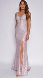 Daniella Mauve Pink Beaded Lace Gown