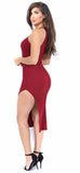 Geonna Burgundy Ribbed High Slit Dress