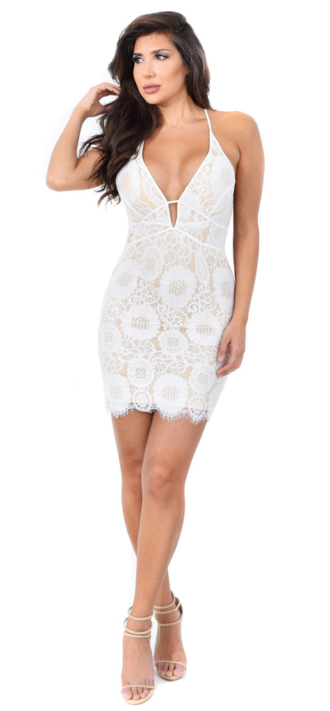 fcab40d736 Carlita White Nude Lace Dress - Emprada