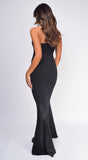 Sydney Black Strapless Satin Detail Gown