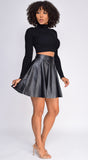 Chantell Black PU Leather Skirt