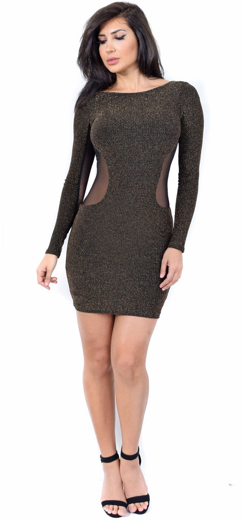 Metallic Black Gold Mesh Dress - Emprada