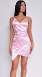 Reece Light Pink Satin Wrap Tie Back Dress