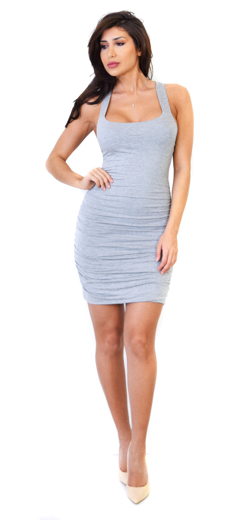 Grey Ruched Cross Back Dress - Emprada