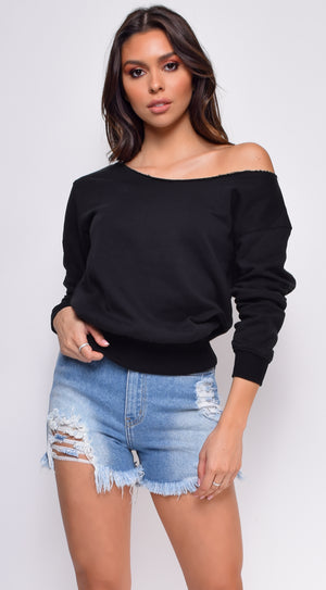 Hallie Black Off Shoulder Sweater