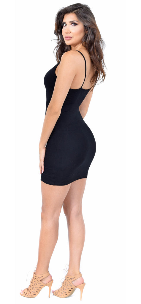 Jena Black V Neck Slip Tank Dress - Emprada