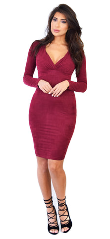 Long Sleeve Suede Burgundy V Neck Midi Dress - Emprada
