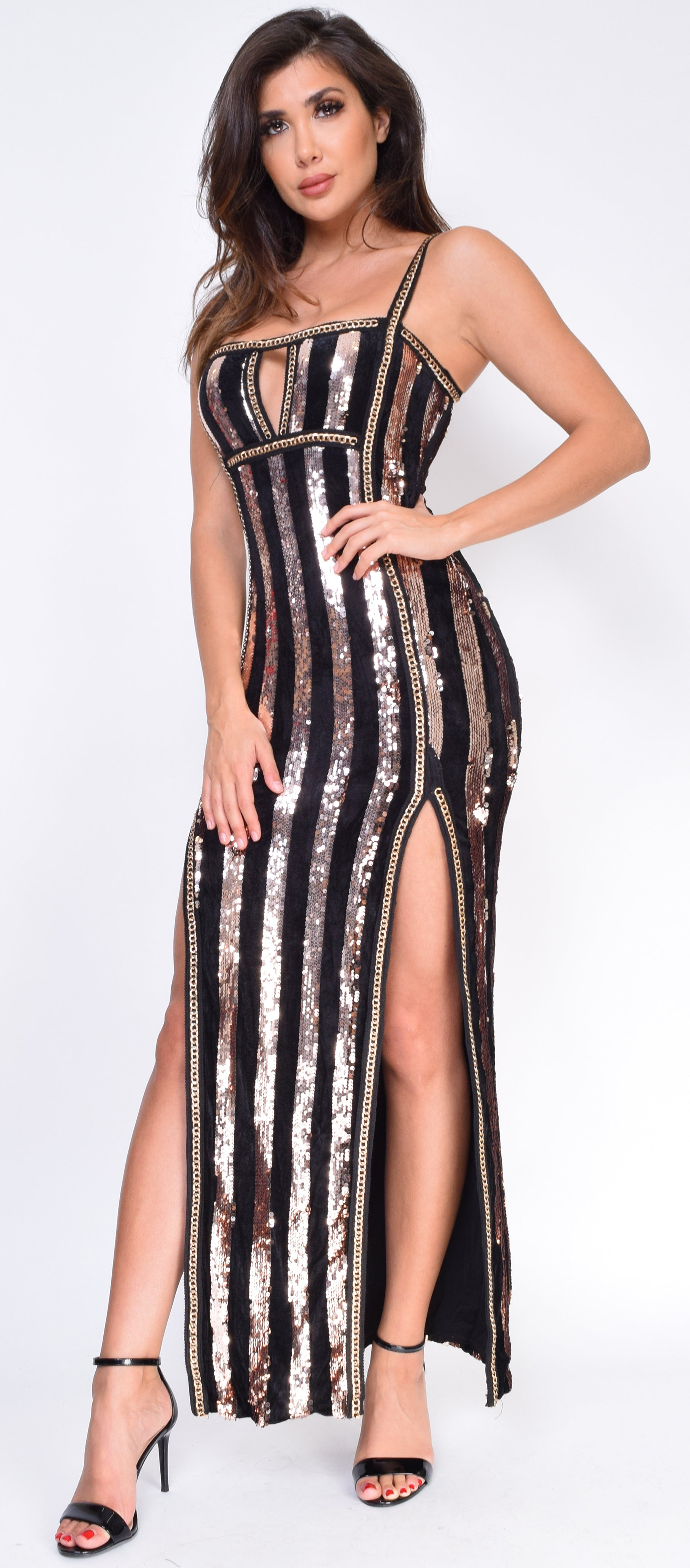 a40b55b1504 Evren Black Rose Gold Velvet Sequin Maxi Dress - Emprada