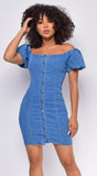 Misbehave Blue Denim Button Puff Sleeves Mini Dress