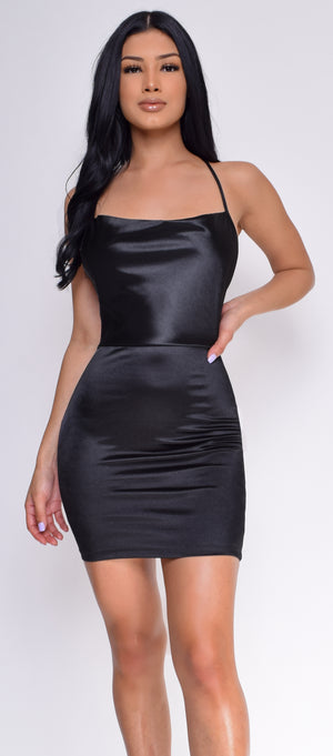 Katrice Black Satin Mini Dress
