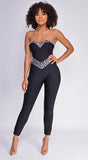 Jenna Black Embellished Gem Bandage Jumpsuit