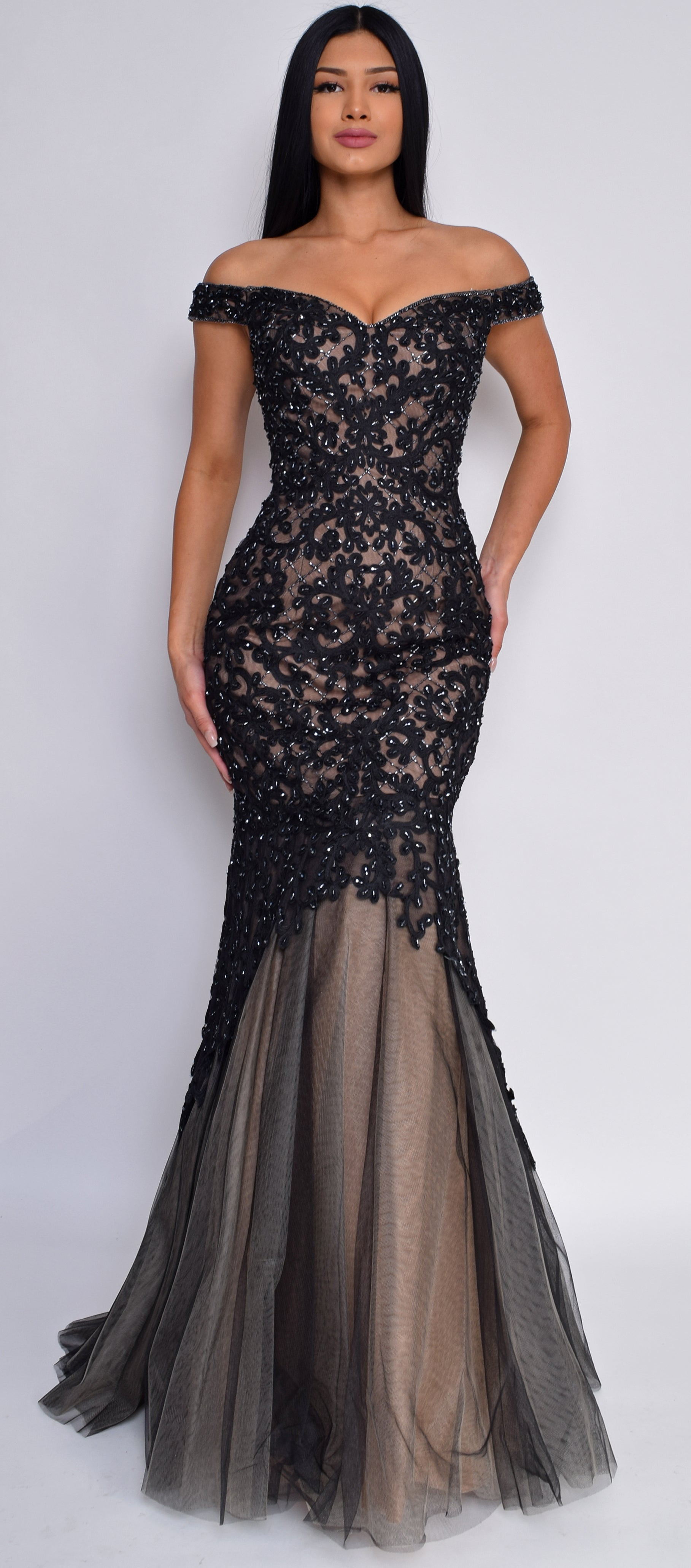 Delpha Black Nude Embellished Lace Gown