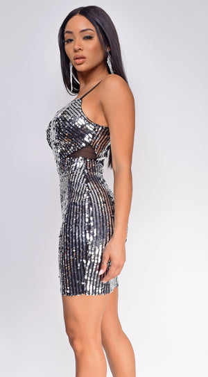 Farai Silver Black Sequin Dress