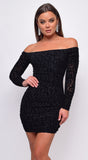 Allie Black Leopard Velvet Flock Off Shoulder Long Sleeve Dress
