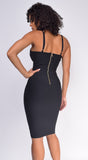 Nelinha Black Button Bandage Dress