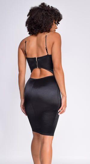Kaylie Black Gold Chain Strap Bustier Satin Dress