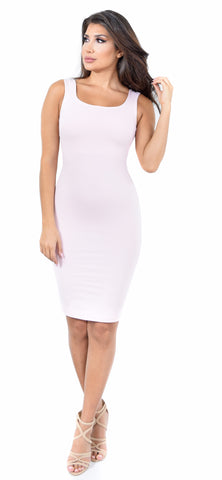 Mara Square Neck Blush Midi Dress - Emprada