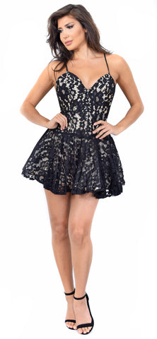 Danielle Black Lace Flare Dress