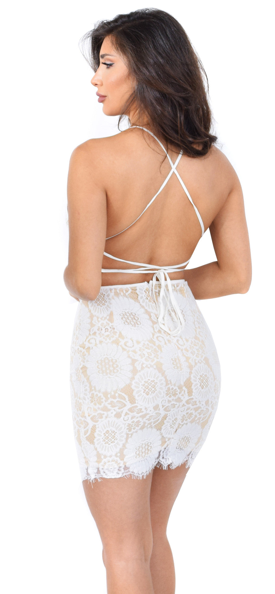 Carlita White Nude Lace Dress - Emprada