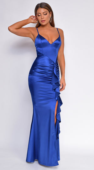 Razan Royal Blue Ruched Ruffled Satin Gown