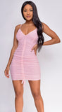 Huda Pink Mesh Front Ruched Dress