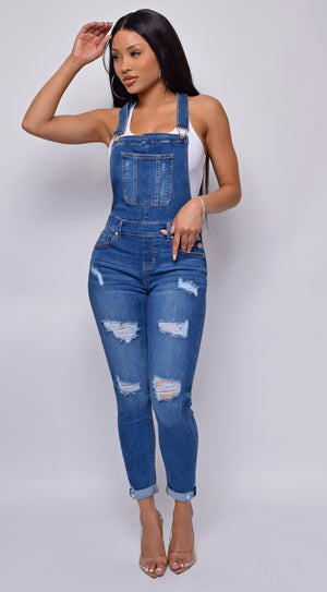 Got You Covered Blue Medium Denim Overalls