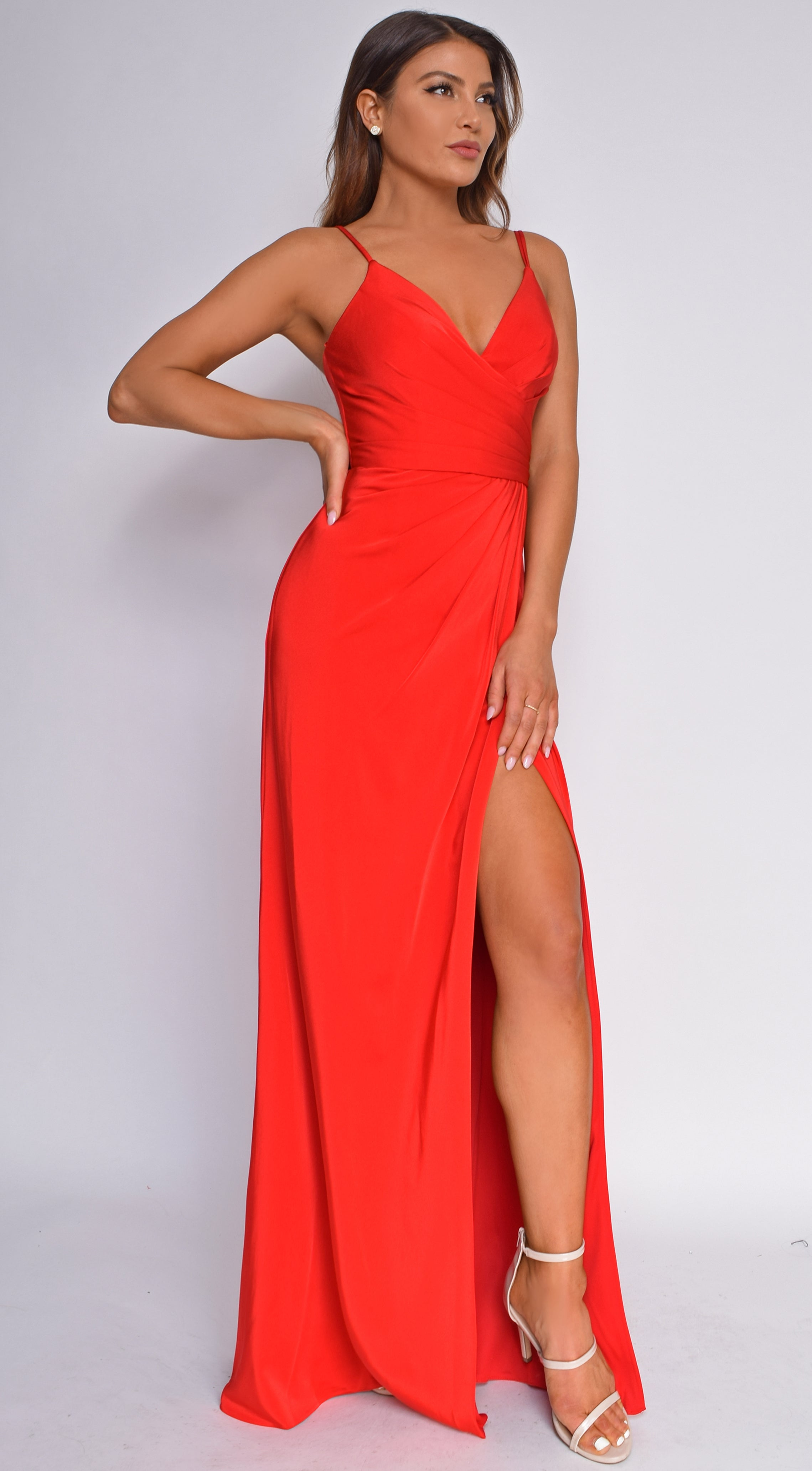 Laney Red Wrap Slit Gown