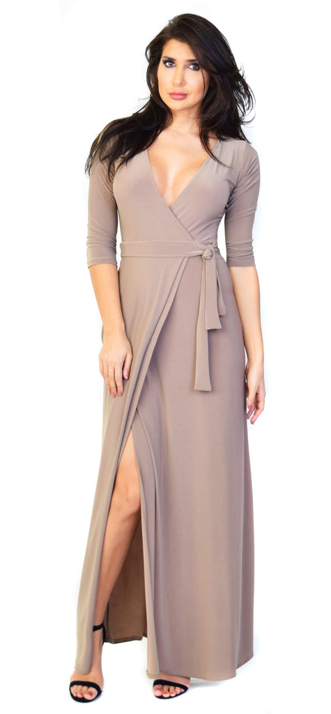Mocha Deep V Wrap Maxi Dress - Emprada