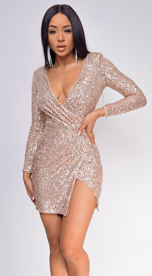 Marina Rose Gold Sequin Dress