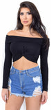 Twisted Black Off Shoulder Knit Crop Top - Emprada