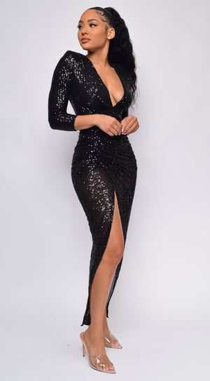 Nevada Black V Neck Sequin Maxi Dress
