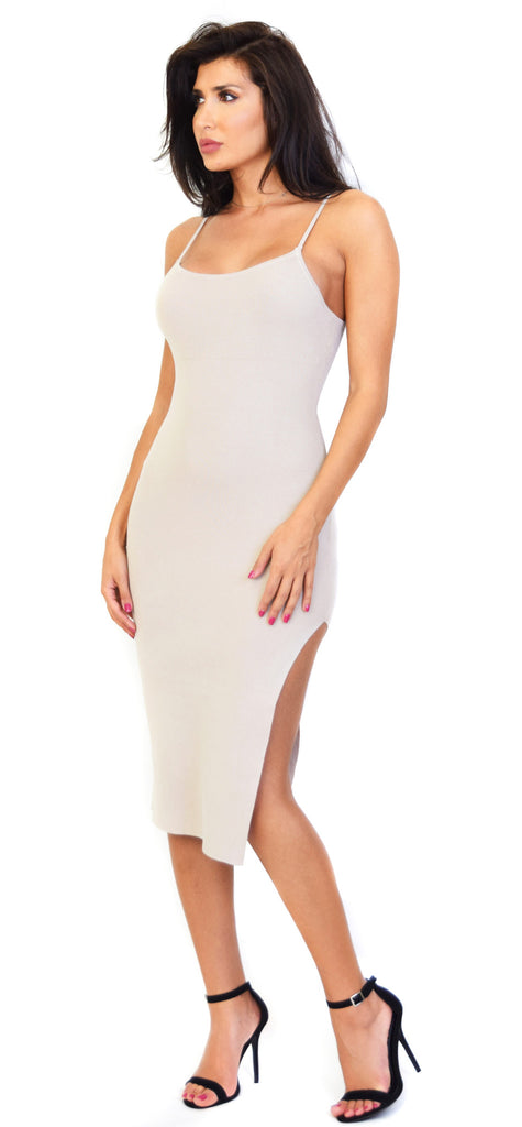 Payton Nude High Slit Dress - Emprada