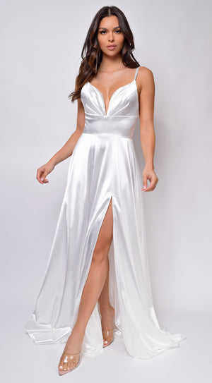 Brissa White Satin Side Slit Gown
