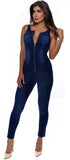 Maeve Dark Wash Zip Up Denim Jumpsuit