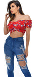 Lucia Red Floral Smocked Off Shoulder Top