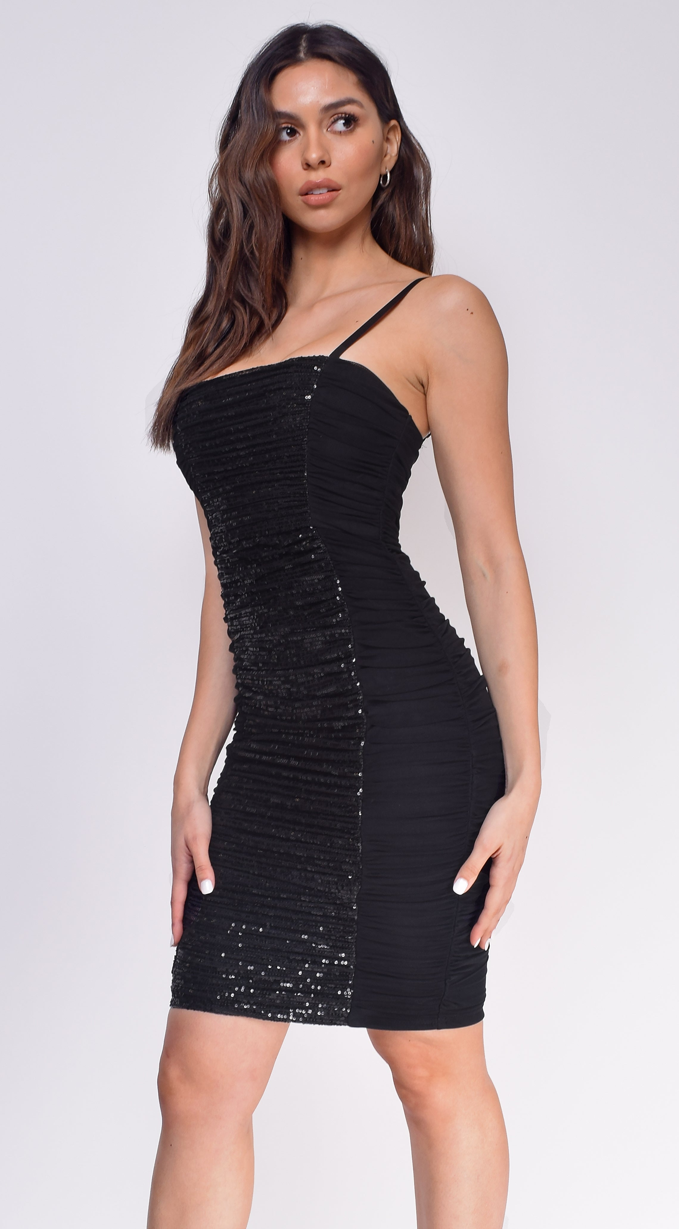 Arya Black Sequin Mesh Ruched Dress