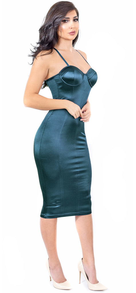 Charlize Teal Satin Bustier Dress - Emprada